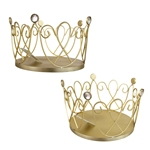 "Mega Crafts - 10"" Wire Heart Design Crown with Large Rhinestones - Gold"