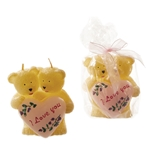 Pair of Bears Holding Heart Candle