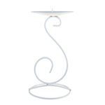 Mega Candles - Pillar / Round Tall Note Metal Candle Holder - Matte White