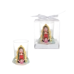 Baby Guadalupe Poly Resin Candle Set in Gift Box - White