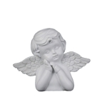 Mega Favors - Angel Resting on Hand Poly Resin Plaque - White