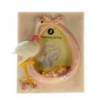 "Mega Favors - 2"" x 3"" Stork with Sleeping Baby Poly Resin Picture Frame - Pink"