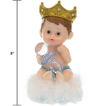 "Mega Favors - 6"" Baby Wearing Crown Poly Resin - Blue"