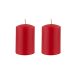 "Azure Candles - 2"" x 3"" Unscented Round Glazed Pillar Candle - Red"