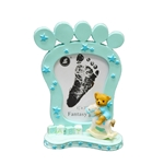 "Mega Favors - 1.5"" x 2.5"" Baby Footprint Poly Resin Picture Frame - Blue"