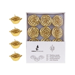 "Mega Candles - 12 pcs 1.5"" Unscented Floating Flower Candle in White Box - Gold"