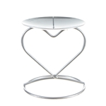 Mega Candles - Pillar / Round Heart Metal Candle Holder - Matte Silver