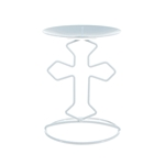 Mega Candles - Religious Cross Metal Candle Holder - White