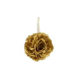 "Mega Crafts - 6"" Artificial Flower Pomander Kissing Ball - Gold"