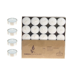 Mega Candles - 50 pcs Unscented Tea Light Candle - White