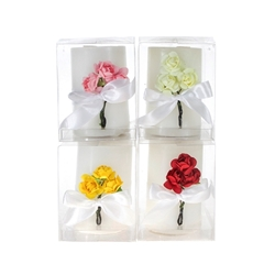 "Mega Candles - 4 pcs 2.5"" x 3"" Scented Pillar with Roses Candle in Clear Box - Asst"