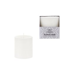 "Mega Candles - 3"" x 3"" Scented Round Pillar Candle in Box - White"