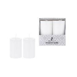 "Mega Candles - 2 pcs 2"" x 3"" Scented Round Pillar Candle in Box - White"