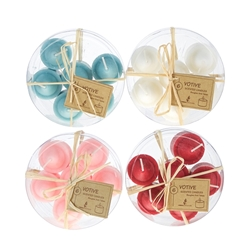 Mega Candles -6 pcs Scented Votive Candle in Round Clear Box - Asst
