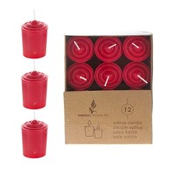 Mega Candles -12 pcs 15 Hours Unscented Votive Candle in Brown Box - Red