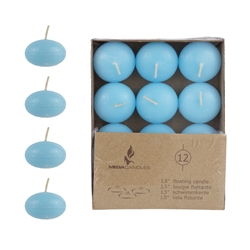 "Mega Candles - 12 pcs 1.5"" Unscented Floating Disc Candle in Brown Box - Light Blue"