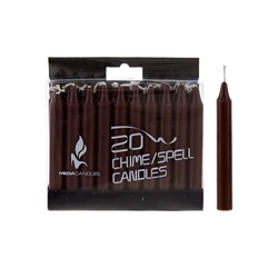"Mega Candles - 20 pcs 4"" Unscented Chime / Spell Chime Candle - Brown"