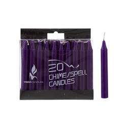 "Mega Candles - 20 pcs 4"" Unscented Chime / Spell Chime Candle - Dark Purple"