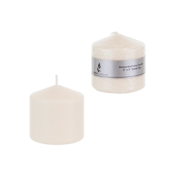 "Mega Candles - 3"" x 3"" Unscented Domed Top Press Pillar Candle in Shrink Wrap - Ivory"