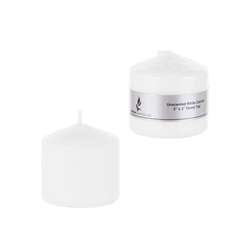 "Mega Candles - 3"" x 3"" Unscented Domed Top Press Pillar Candle in Shrink Wrap - White"