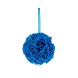 "Mega Crafts - 6"" Artificial Flower Pomander Kissing Ball - Turquoise"