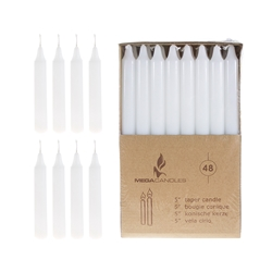 "Mega Candles - 48 pcs 5"" Unscented Straight Taper Candle in Brown Box - White"