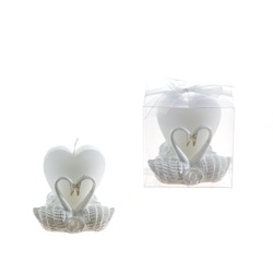 Mega Favors - Pair of Swans with Heart Candle in Gift Box - White