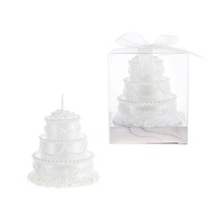 Mega Favors - Three Tier Wedding Cake Candle in Gift Box - White