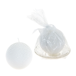Mega Favors - Pearl Round Candle on Glass Plate in Gift Box - White