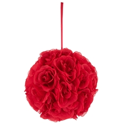"Mega Crafts - 10"" Artificial Flower Pomander Kissing Ball - Red"