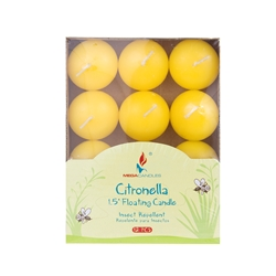 "Mega Candles -12 pcs 1.5"" Citronella Floating Disc Candle in Designer Box - Yellow"