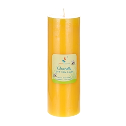 "Mega Candles -3"" x 9"" Round Citronella Pillar Candle in Shrink Wrap - Yellow"