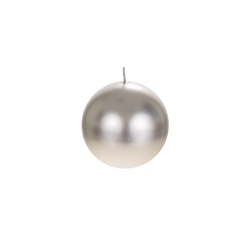 "Mega Candles - 4"" Unscented Round Ball Candle - Silver"