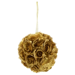 "Mega Crafts - 10"" Artificial Flower Pomander Kissing Ball - Gold"