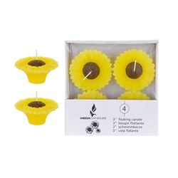 "Mega Candles - 4 pcs 3"" Unscented Floating Sun Flower Candle in White Box - Yellow"