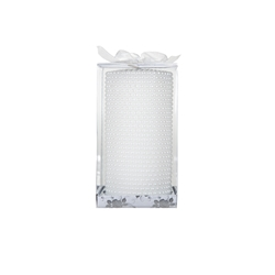 "Mega Candles - 3"" x 6"" Unscented Round Pearl Pillar Candle - White"