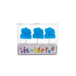Mega Candles - 3 pcs Baby Stroller Party Pick Candle in Clear Box - Blue