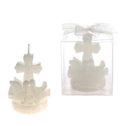 Mega Candles - Pair of Doves with Cross Candle in Clear Box