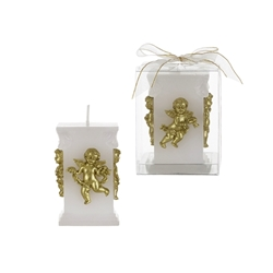 Mega Candles - Sculpted Angel Square Pillar Candle in Clear Box - Gold