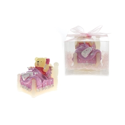 Mega Candles - Teddy Bear in Bed Candle in Clear Box - Pink