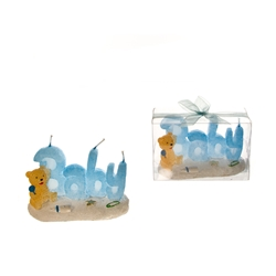 Mega Candles - Baby Phrase in Beach Theme with Teddy Bear Candle in Clear Box - Blue