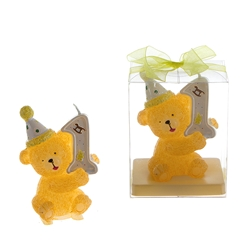 Mega Candles - 1st Year Teddy Bear Birthday Candle in Clear Box - Yellow