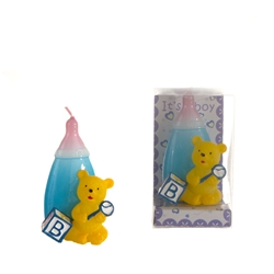 Mega Candles - Teddy Bear in Front of Baby Bottle Candle in Clear Box - Blue