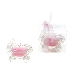 Mega Candles -Glass Baby Carriage Scented Candle in Gift Box - Pink