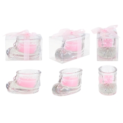 Mega Candles -Glass Baby Shoe Scented Candle in Gift Box - Blue