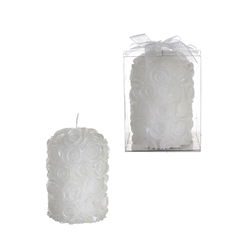 Mega Favors - Rose Round Pillar Candle in Gift Box - White