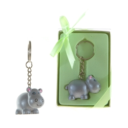 Mega Favors - Baby Hippo Poly Resin Key Chain in Gift Box
