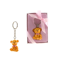 Mega Favors  -Teddy Bear Poly Resin Key Chain in Gift Box - Pink