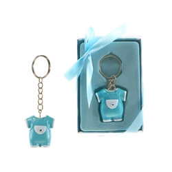 Mega Favors - Baby Clothes Poly Resin Key Chain in Gift Box - Blue