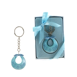 Mega Favors - Baby Bib Poly Resin Key Chain in Gift Box - Blue